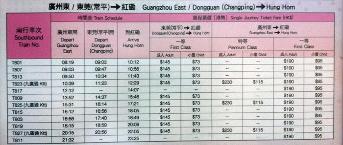 最新北京,上海,广州至香港九龙火车时刻表